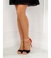 Sandale cu toc subtire, imitatie din piele intoarsa, rosu si negru