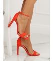 Sandale cu toc gros, imitatie piele intoarsa, corai
