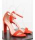 Sandale cu toc gros, imitatie piele intoarsa, corai  - 4