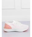 Adidasi din material textil elastic alb cu roz, cu talpa groasa  - 2
