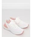 Adidasi din material textil elastic alb cu roz, cu talpa groasa  - 4
