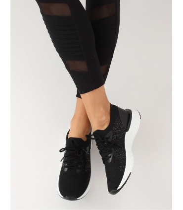 Adidasi din material elastic negru cu talpa groasa  - 1