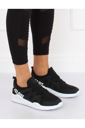 """Adidasi din material textil negru - """"WE LOVE""""  - 1"""