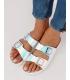 Papuci albi cu detalii multicolore  - 3