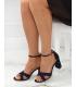 Sandale cu toc gros, imitatie piele intoarsa, bleumarin  - 1