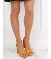 Sandale cu toc gros, piele ecologica, galben mustar