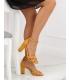 Sandale cu toc gros, piele ecologica, galben mustar  - 3