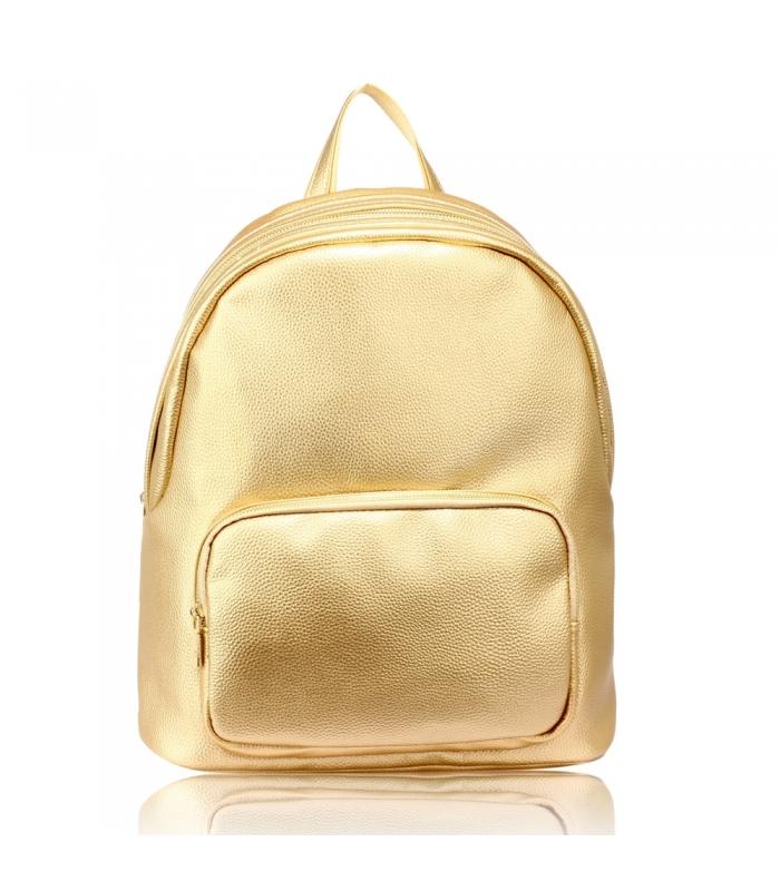 Rucsac auriu din piele ecologica  - 1