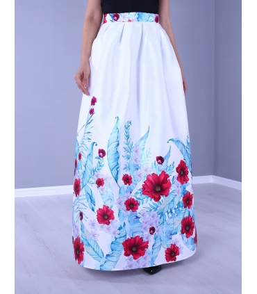 Fusta alba lunga eleganta cu imprimeu flori colorate  - 1