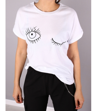 Tricou casual, alb cu imprimeu ochi  - 1