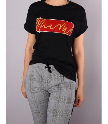 Tricou casual negru, cu imprimeu rosu si auriu  - 2