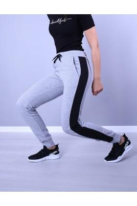 Pantaloni Sport Gri cu Dunga Neagra  - 2