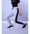 Pantaloni Sport Gri cu Dunga Neagra
