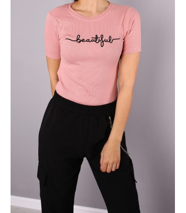 "Body Tricou, roz, cu mesaj ""Beautiful""  - 3"