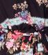 Rochie scurta neagra, tip camasa cu flori colorate si dungi Parisian - 8