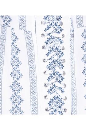 Rochie scurta alba cu umerii goi si imprimeu albastru Parisian - 5