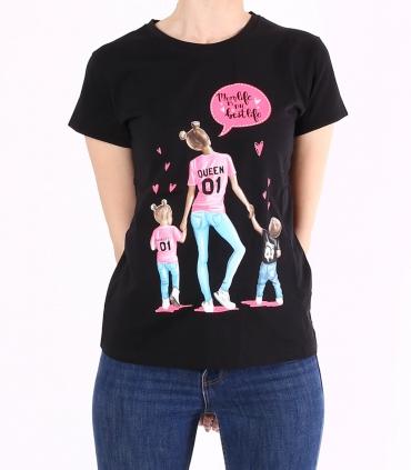 """Tricou negru, casual, cu imprimeu mama si copii, si text """"Mom life is the best life""""  - 1"""