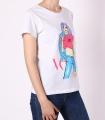 """Tricou casual alb cu imprimeu fata colorata si mesaj """"Vogue""""  - 2"""