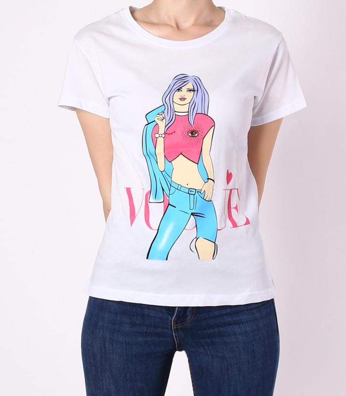 """Tricou casual alb cu imprimeu fata colorata si mesaj """"Vogue""""  - 1"""