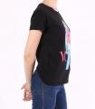 """Tricou casual negru cu imprimeu fata colorata si mesaj """"Vogue""""  - 2"""
