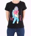 """Tricou casual negru cu imprimeu fata colorata si mesaj """"Vogue"""""""