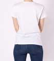 Tricou alb casual cu imprimeu fata cu funda  - 3