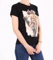 Tricou negru casual cu imprimeu fata cu funda  - 2