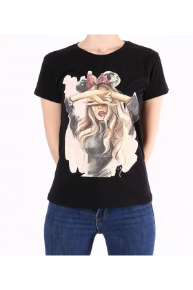 Tricou negru casual cu imprimeu fata cu funda  - 1