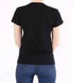 Tricou negru casual cu imprimeu fata cu funda  - 3