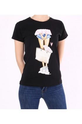 Tricou negru casual cu imprimeu fetita  - 1