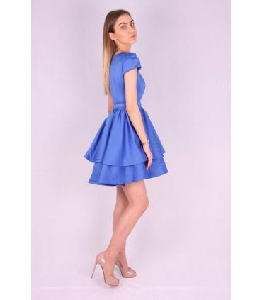 Rochie albastra din material satinat  - 1