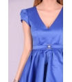 Rochie albastra din material satinat  - 4