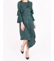Rochie asimetrica de culoare verde  - 3