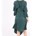 Rochie asimetrica de culoare verde  - 5