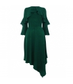 Rochie asimetrica de culoare verde  - 6