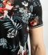 Tricou polo negru cu imprimeu frunze  - 5