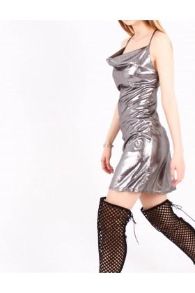Rochie metalica scurta  - 3