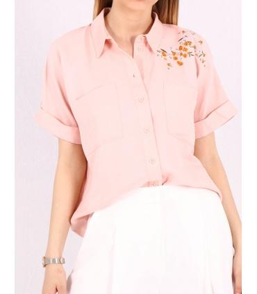 Camasa roz cu imprimeu floral  - 1