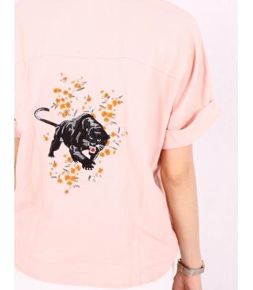 Camasa roz cu imprimeu floral  - 3