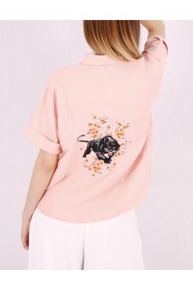 Camasa roz cu imprimeu floral  - 4