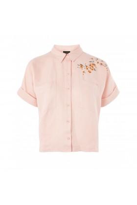 Camasa roz cu imprimeu floral  - 5