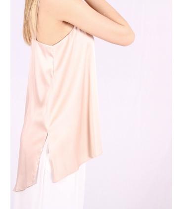 Top din satin culoare roz  - 2
