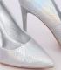 Pantofi cu toc, argintiu cameleon din imitatie piele de sarpe  - 2