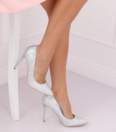 Pantofi cu toc, argintiu cameleon din imitatie piele de sarpe  - 1