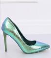 Pantofi cu toc, albastru cameleon din imitatie piele de sarpe  - 2