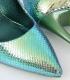 Pantofi cu toc, albastru cameleon din imitatie piele de sarpe  - 3