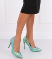 Pantofi cu toc, albastru cameleon din imitatie piele de sarpe  - 4