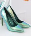 Pantofi cu toc, albastru cameleon din imitatie piele de sarpe