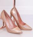 Pantofi cu toc, champagne cameleon din imitatie piele de sarpe