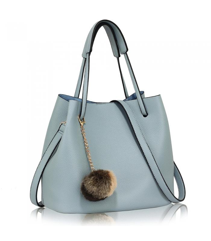 Geanta tip sac din piele ecologica albastra cu accesoriu din blanita  - 1